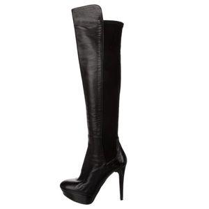 Stuart Weitzman black leather OTK boots. Size 7.5